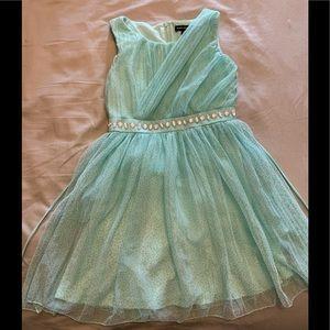 Girls Aqua green sparkle Dress size 7